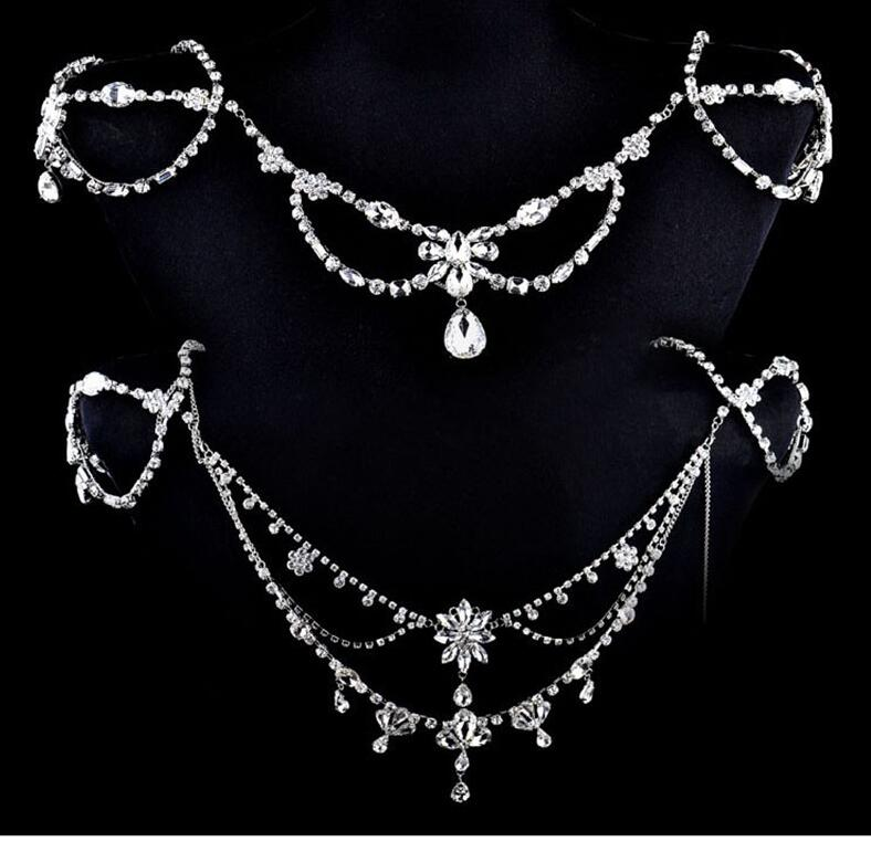 Image 2 - New Fashion Bride Jewelry Vintage shoulder Chains big Necklaces  Pendant Long Necklace Wedding Shoulder strap Bridal AccessoriesChain  Necklaces