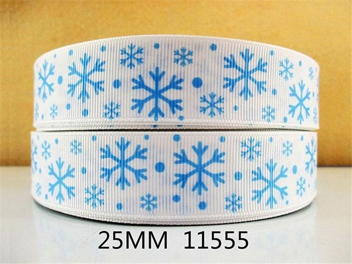 1 «(25 мм) Рождество снег штук высокое качество печатных полиэстер ленты 5 ярдов, DIY материалы ручной работы, свадебный подарок обёрточная