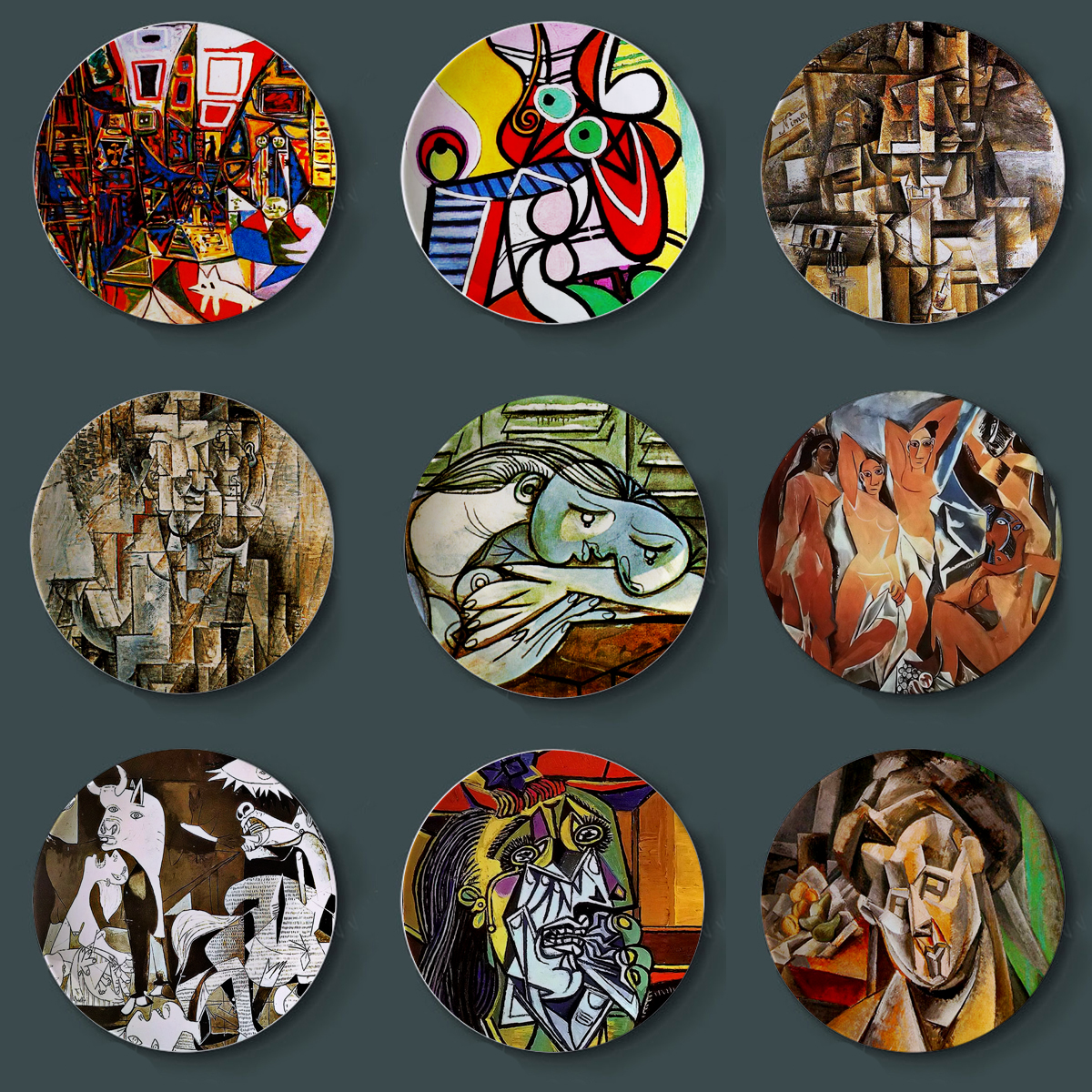New Spanish Picasso Painting Plates For Home Wall Decor Abstract Watercolor Desk Display Ceramic Craft Round Colorful Plate