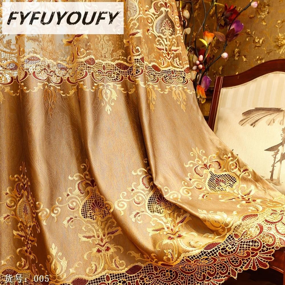 FYFUYOUFY Ευρωπαϊκή πολυτέλεια κομψότητα Κεντήματα Κουρτίνα για κουρτίνα για σαλόνι Γαλλικά Παράθυρο Κουρτίνα Σκίαση Παράθυρο υφάσματος