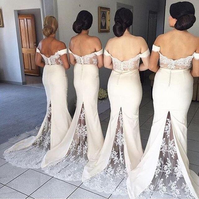 Sexy Cream Long With Train Mermaid Formal Bridesmaid