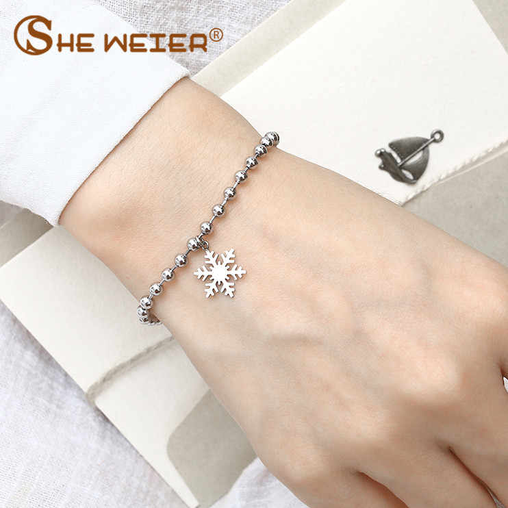 SHE WEIER snowflake beads bracelet bangles charm stainless steel chain link braclet silver gold for women femaleaccessories