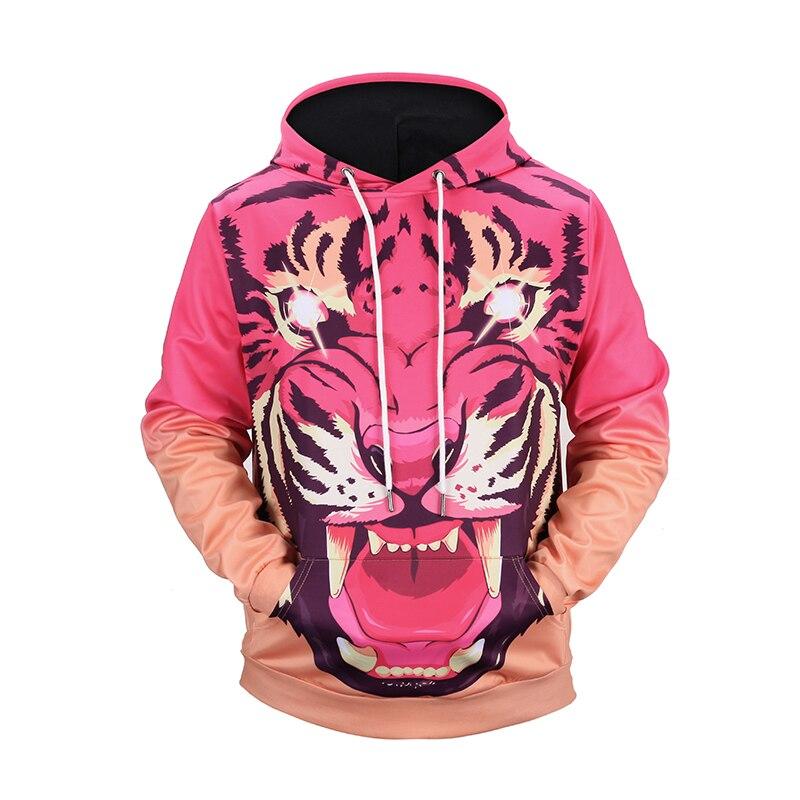 2018 3D Pink Tiger Women/Men Hoodie Women with Hat Patchwork Unisex Punk Long -Sleeve Hoodies for Front Pocket Hoodies Outwear