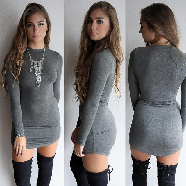 New Spring 2017  Dark Gray Long Sleeve Night Club  Bodycon Stretch Slim Mini Dress