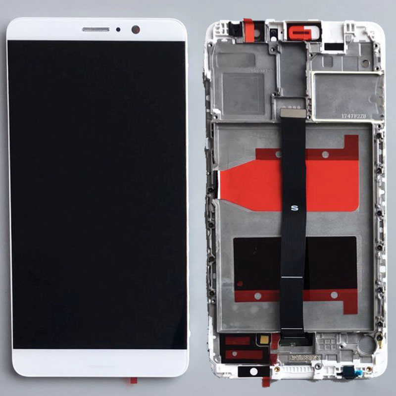 White LCD Display glass Touch Screen Digitizer Assembly+Frame for Huawei Mate 9 Replacement white lcd display touch screen digitizer glass assembly frame for huawei ascend p7 p7 l10