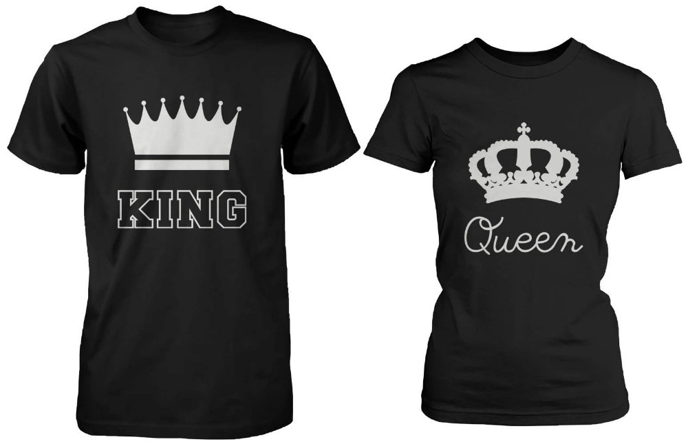 king and queen couple tee shirts cool design printed t shirts black cotton shirts blouse top tees euro size free shipping in t shirts from mens clothing - Designs For T Shirts Ideas