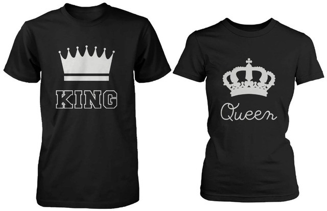 King And Queen Couple Tee Shirts Cool Design Printed T Shirts Black Cotton  Shirts Blouse Top