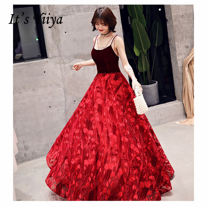 It's YiiYa Evening Dress 2019 Spaghetti Strap V-neck Long Women Party Dress Splicing Floral Lace Robe De Soiree Plus Size E494