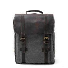 """MUCHUANEurope модные парусиновые кожаные рюкзаки из чистого хлопка 1"""" для ноутбука, водонепроницаемые Рюкзаки большой емкости, мужские рюкзаки в стиле ретро"""