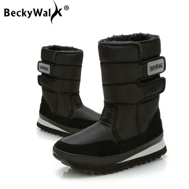 BeckyWalk زائد حجم 36-45 أسود الشتاء الثلوج أحذية النساء أحذية للماء كبيرة الإناث منصة الأحذية عارضة أحذية امرأة WSH3102