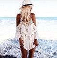 2017 Мода V-образным Вырезом Шифон Кружева Повседневная Комбинезоны Сексуальная Ремень Спинки Женщины Комбинезоны Белый Лоскутная Свободные Femme Palysuit FD300