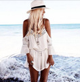 2017 Fashion V-Neck Chiffon Lace Casual Jumpsuits Sexy Strap Backless Women Playsuits White Patchwork Loose Femme Palysuit FD300