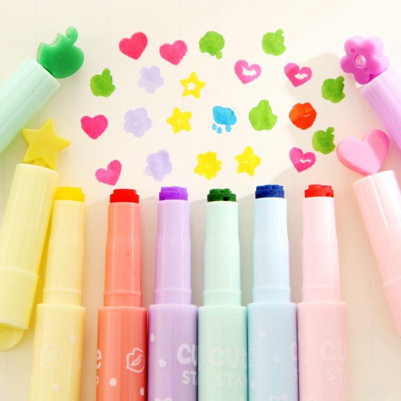6 Pcs/lot New Pattern Seal Cartoon Cute Creative  Highlighter Marker Pen Marker Office School Supplies  Gift Child Free Shipping
