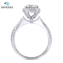 DovEggs 14k 585 White Gold Center 1carat 6.5mm F Color Excellent Cut Moissanite Diamond Engagement Ring For Women With Accents