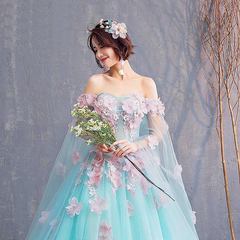 Вечернее платье see through Назад цветы зеленое с аппликацией кружево и 3D с круглым вырезом пол lengyh vestidos de festa органзы кафтан