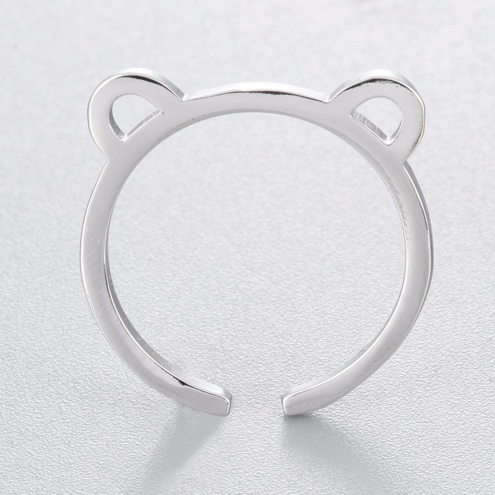 Todorova Brand Cute Design Cat Ear Pattern Open Adjustable Rings for Children Girls Gift Silver Womens Finger Ring