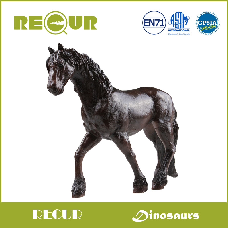 Recur Toys Friesian Horse Hand Painted Soft PVC Farm Animal Model Collection Action & Horse Figures Toys Gift For Kids Education starz appaloosa horse model pvc action figures animals world collection toys gift for kids