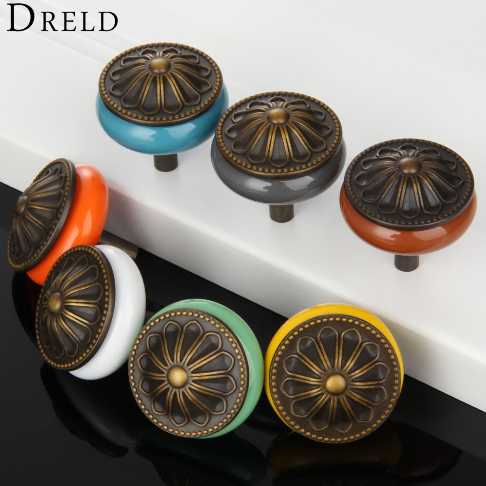 1Pc Furniture Handles Antique Copper Cabinet Knobs and Handles Ceramic Door Knob Cupboard Drawer Kitchen Pull Handle Home Decor