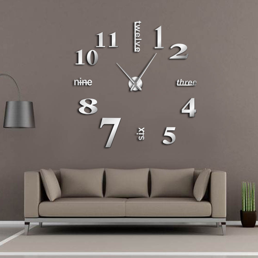Modern DIY Mute Large Wall Clock Home Decor Office 3D Mirror Surface Wall Sticker Clocks Giant Frameless Decorative Clock Watch