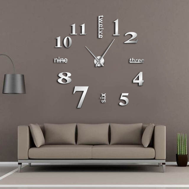 modern diy mute large wall clock home decor office 3d mirror surface