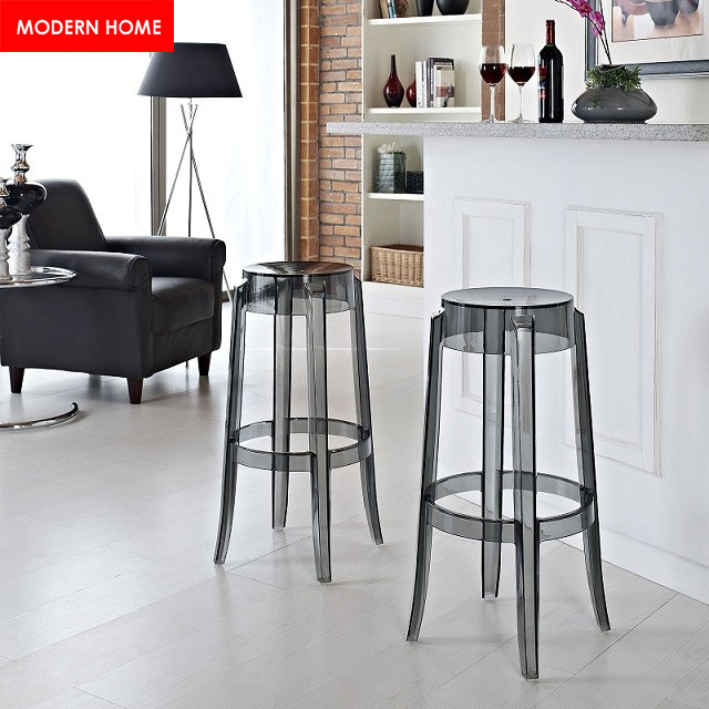 replica minimalist modern design transparent clear acrylic bar stool high counter stool 74cm height bar chair cafe loft stool