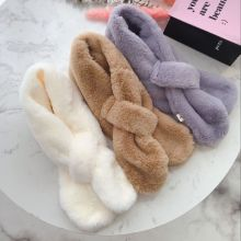 Милый зимний детский шарф с искусственным кроличьим мехом на воротнике, роскошные брендовые шарфы для девочек, мягкий шейный платок, теплый плотный кроличий мех