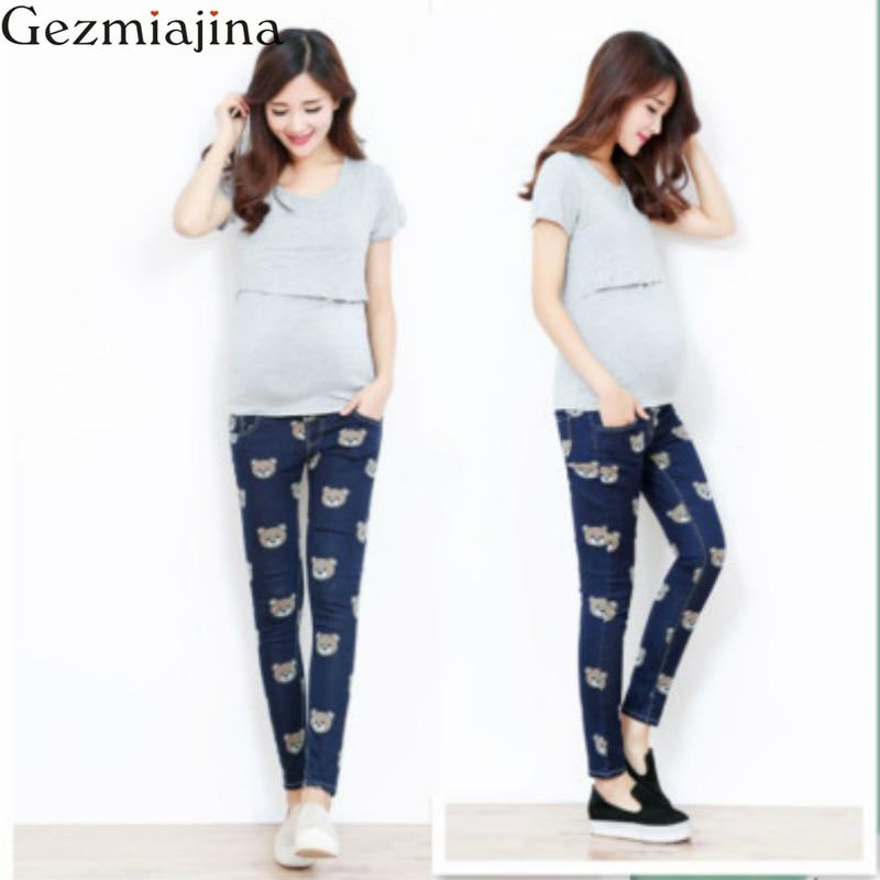 Pantalones de maternidad de primavera otoño Pantalones vaqueros de mujer embarazada Pantalones de lápiz de dibujos animados Pantalones de abdomen ajustables para el embarazo