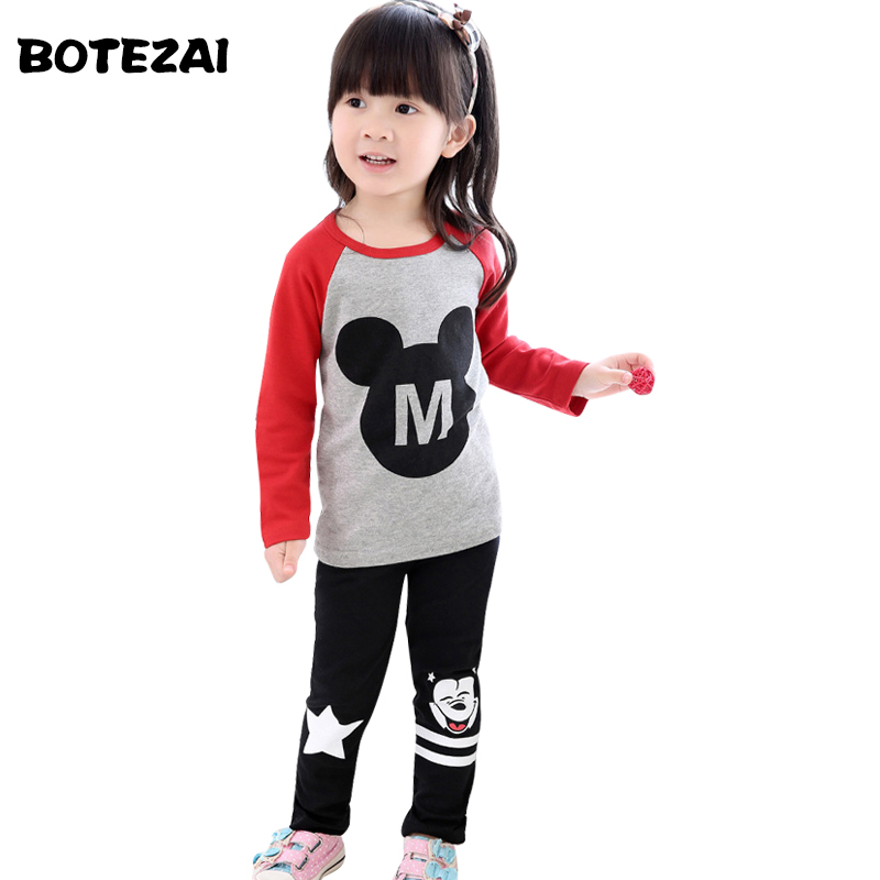 2016 New Spring Autumn Children Girls Clothing Sets Cartoon Clothes Minnie tops t shirt leggings pants baby kids 2pcs suit