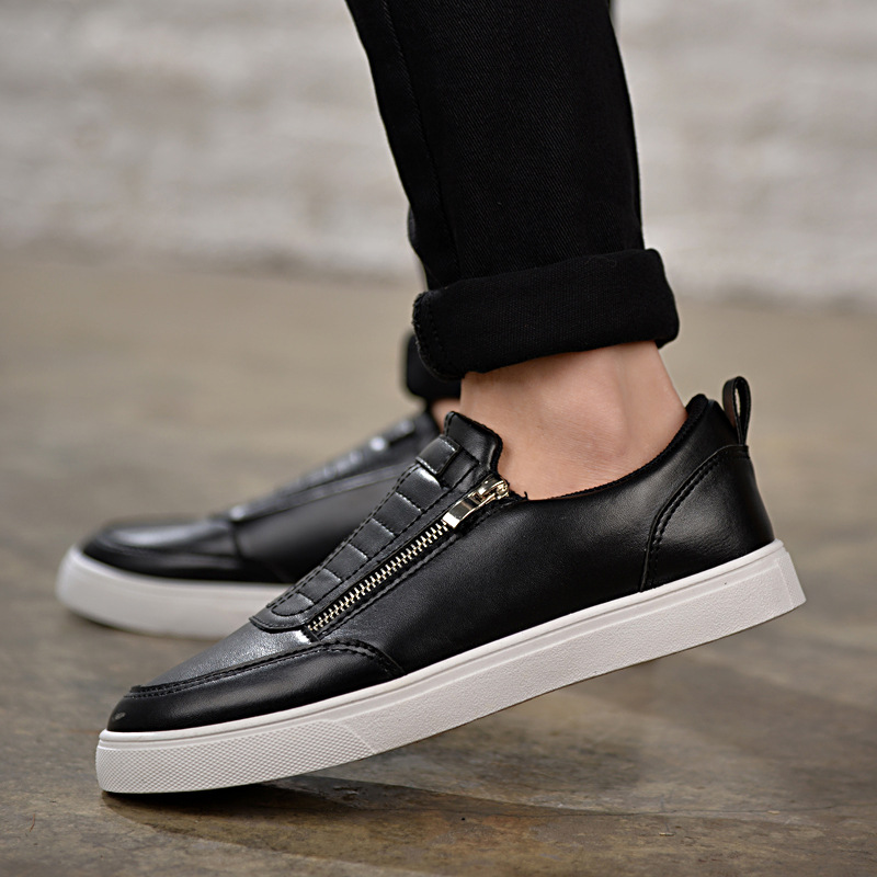 2017 New Flats Men Shoes Zip Round Toe Leather Men Loafers Shoes Fashion Brand Outdoor Shoes