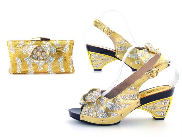 affd12eca38 Gold sandal low heel 3 inches shoes with clutches bag with many stones for aso  ebi african shoes and clutches bag HMS0022