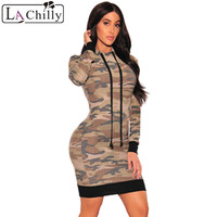 La Chilly Camo Hoodie Long Sleeve Dress LC220114