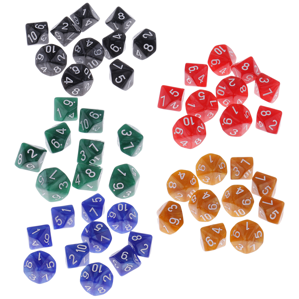 50 Pcs Plastic 10-sided Dices D10 Set for Party Pub Casino Board Game Party Gaming Dices Party Couples Families Game image