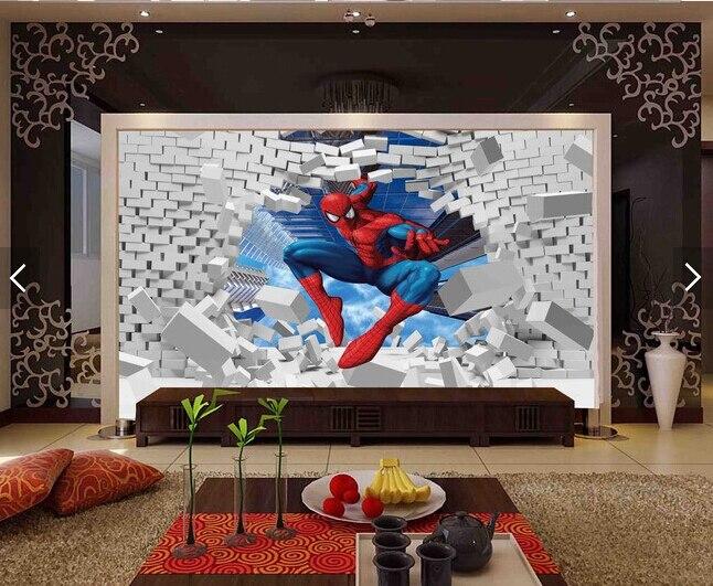 Custom papel DE parede infantil,Spider-Man,3D cartoon murals for children's rooms park backdrop waterproof wallpaper custom children wallpaper fresh green trees 3d cartoon murals for children s rooms park backdrop waterproof wallpaper