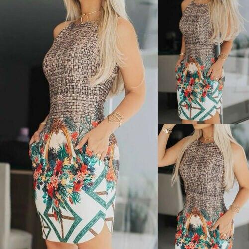 Стильное женское платье-жилет, с высокой талией, o-образными карманами и цветочным принтом, летнее пляжное платье для отдыха, новый дизайн, ...