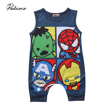 Pudcoco Newborn Baby Boy Girl Romper 2018 Summer Cartoon Sleeveless O Neck Cotto