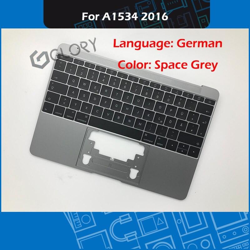 Ordinateur portable Palmrest A1534 Topcase avec clavier allemand pour Macbook Retina 12 pouces gris remplacement 2016