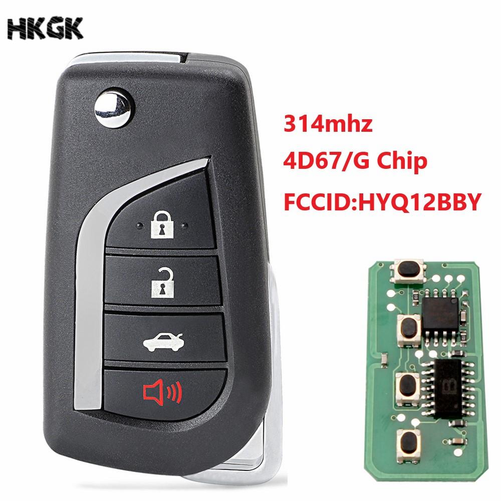 4 Buttons Remote Car Key Fob For Toyota Camry  Avalon Corolla Matrix RAV4  HYQ12BBY 314.4Mhz Transponder G/4D67 Chip