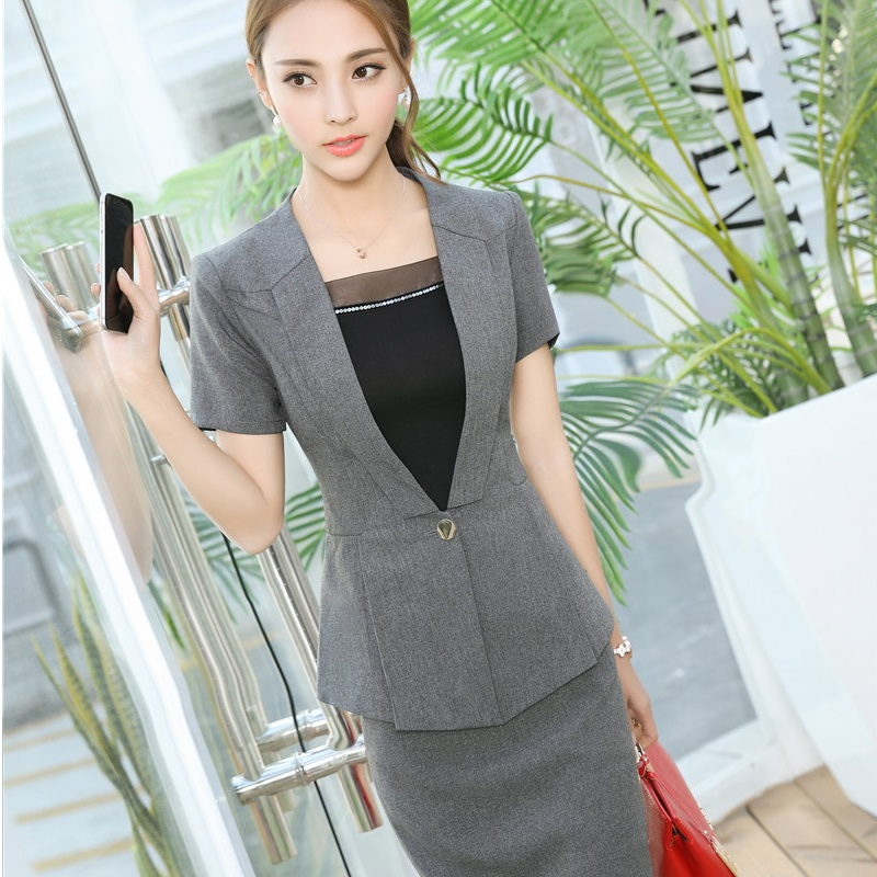 a91ce9c90783 Formal OL Styles 2017 Summer Short Sleeve Elegant Blazer Suits With ...