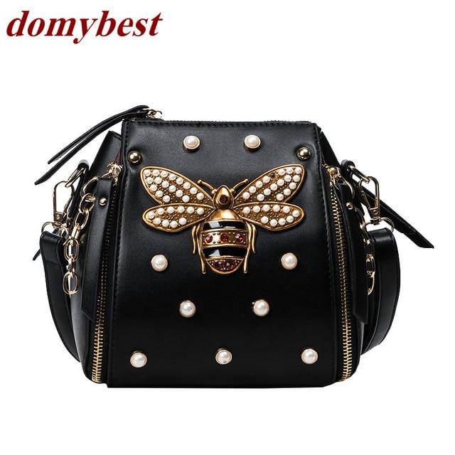 Good Quality Fashion Metal Pearl Bees 4 Colors Las Shoulder Bag Handbag Purse Women S Crossbody Messenger
