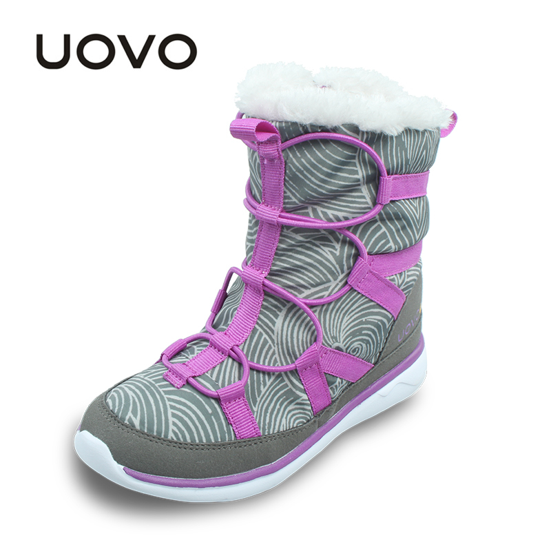 UOVO 2017 Winter Boots For Girls Warm Plush Kids Casual Shoes Zip And Bungee Lacing Children Boots Light-weight Fashion Boots