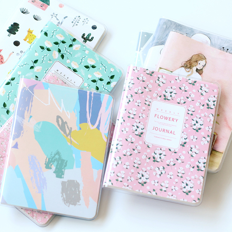 Fromthenon Korean A6 Kawaii PVC Cover Notebook Journal Diary Pocket Notepad Monthly Weekly Plan Planner agenda School Stationery fromthenon cute pu leather notebook cover kawaii cat a5a6 spiral planner personal diary weekly monthly daily journal stationery
