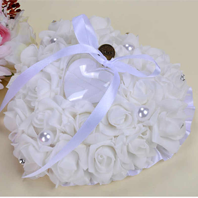 Mr Mrs Wedding Decor Centerpieces Heart-shape Flower Ring Box Valentine's Day Gift Ring Pillow DIY Wedding Event Party Supplies