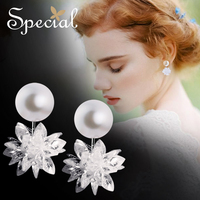 Special Brand Fashion 925 Sterling Silver Stud Earrings Natural Pearls Double Sided Crystal Jewelry Gifts for Women S1685E