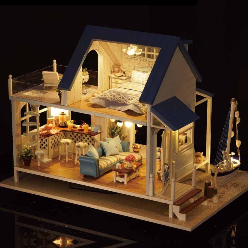 Mignon chambre bricolage maison de poupée jouets modèle avec LED 3D meubles en bois Miniature maison jouets cadeaux d'anniversaire mer des caraïbes A037 # E