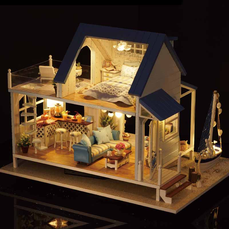 Cute Room DIY Doll house Toys Model With LED 3D Wooden Furniture Miniature House Toys Birthday Gifts Caribbean Sea A037 #E diy miniature wooden dollhouse caribbean sea cute room with music big doll house toy for girl birthday gift christmas present