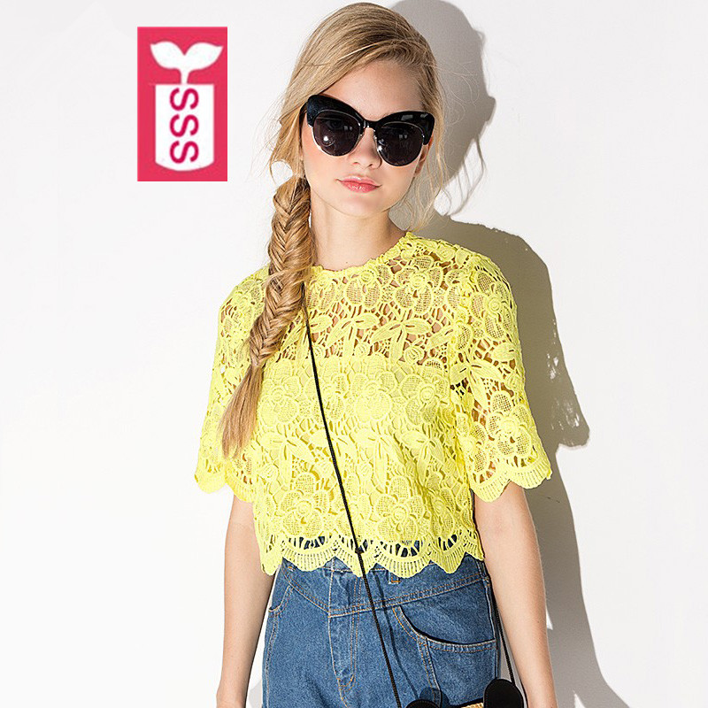 SSS Streewear Lovely Style 2016 Female High quality lace Crop Tops Lady Yellow Short Sleeves Midriff