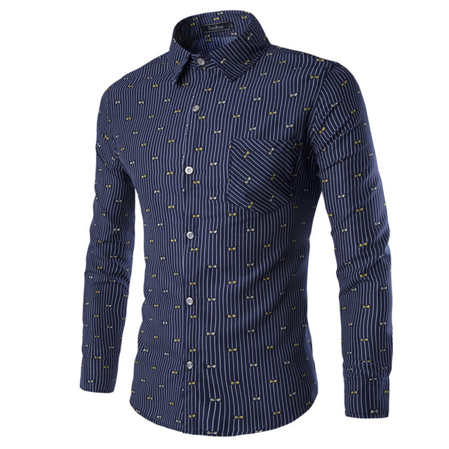 New Tiny bow Decor Men Shirt 3XL Fashion Striped Mens Dress Shirts Slim fit Social Camisas Masculinas Long sleeve Chemise homme