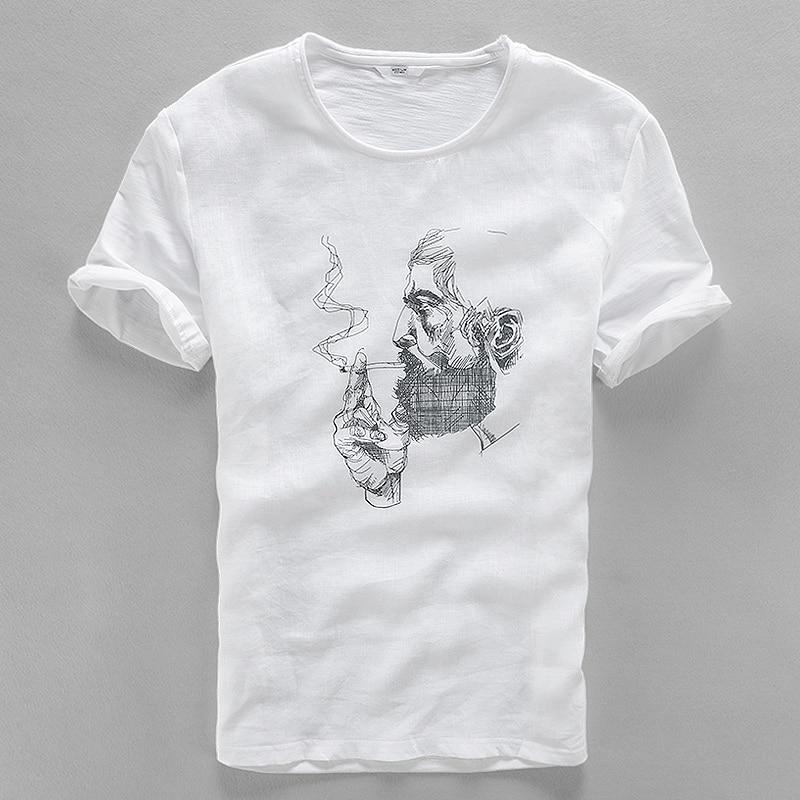 2017 chegada de linho dos homens t camisa chinesa tendência dos homens t-shirt de algodão cabeça impressões de manga curta verão branco tshirt homens casual camisa