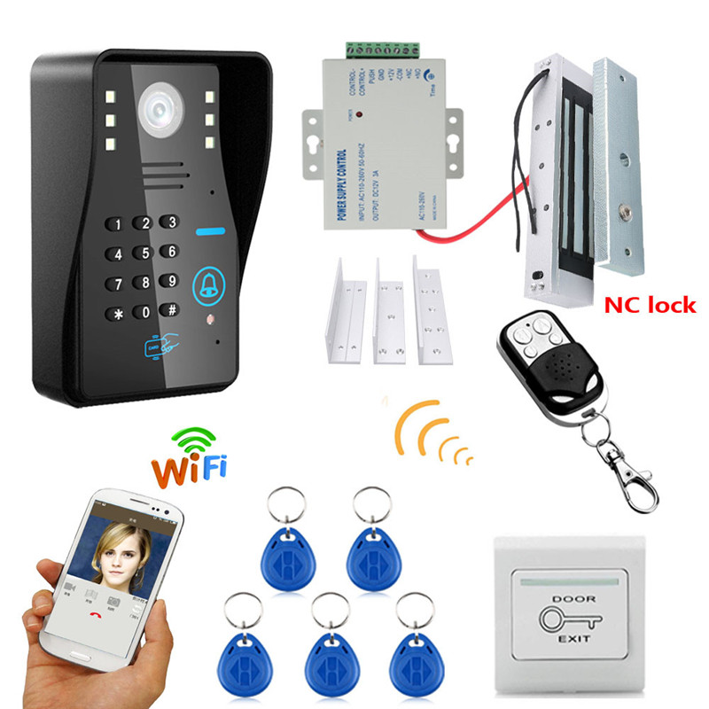 Wireless WIFI RFID Password Video Door Phone Doorbell Intercom System+ 180KG Magnetic Lock+Access Control Power Supply+Remote android iso app wifi video door phone rfid keypad doorbell long type no electric strike lock system wifi door access control kit