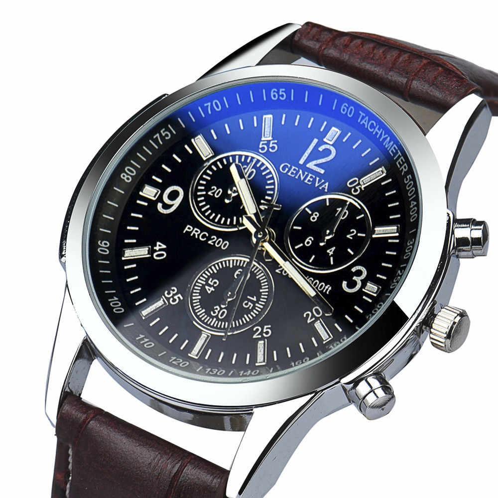 יוקרה mens האופנה ז 'נבה רצועת עור רומי Drop Shippong Reloje Masculino אנלוגי קוורץ שעון יד